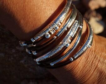 "Leather Wrap Bracelet, Boho ~ Endless Leather Wrap Bracelet - ""Bangles"", 5X double layered wrap bracelet/necklace"