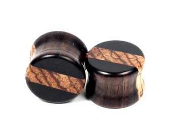 Handmade Gaboon Ebony/Zebrawood stripe inlay plugs