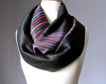 Infinity scarf, Pashmina scarf, Chocolate Brown  scarf, multicolored stripes scarf, gift for her