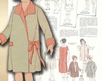 Pictorial Review 1675 Vintage 1920s  Adorable Coat for Little Girl Revered Collar and Side Closure Very Rare Size 6
