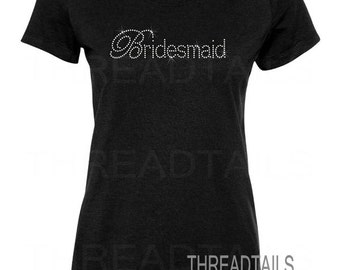 Rhinestone Bridesmaid shirt - Beach wedding, shower, Bachelorette party tee, gifts for the bridal party and Brides attendants.