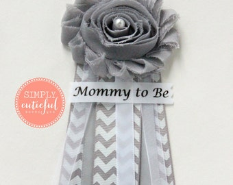 Grey Chevron Baby Shower Corsage with Mommy to Be Grandma to Be and Custom Pins Badge