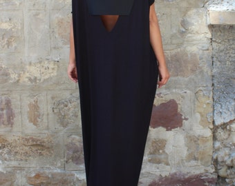 Caftan Black Dress, Oversized dress, Backless dress, Maxi dress, Black dress, Sleeveless dress , Open back dress