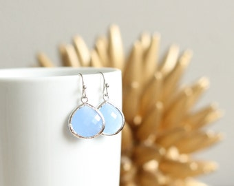 Blue Chalcedony Colored Earrings | Silver | Wedding Bridal Bridesmaid | Mother's Day Gift