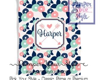 Custom Floral Baby Blanket - Baby Shower Gift - Aztec Blanket - Nursery Bedding - Throw Blanket - Personalized Blanket