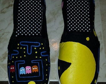 Pacman Nintendo Video Game Fan Art Tribute Hand Painted Canvas Shoes Order your own size custom