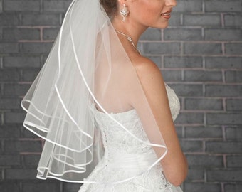 Ivory Wedding Veil with Satin Edge. 2 tier Hair accessory, Bridal Hairpiece for Wedding