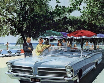 1965 Pontiac Catalina Convertible Vintage Car Ad Fitzpatrick and Kaufman, Wide Track, 1960s Auto Advertising Artwork