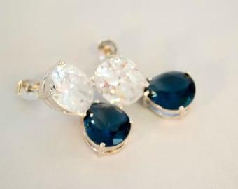 Sapphire Blue and Simulated Diamond Drop Earrings, Silver Drop Earrings