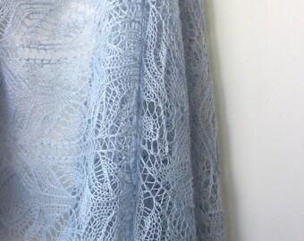 Light blue lace shawl, handknit alpaca silk shawl, Estonian Lace, sky blue bridal stole, woman cover up, kerchief, tippet, summer shawl