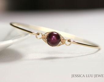 Gold Purple Pearl Bangle Bracelet Wire Wrapped Jewelry Handmade Bridal Pearl Bracelet Gold Bangle Gold Bracelet Purple Pearl Bracelet
