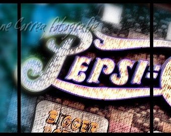 3  8x8 Pepsi Sign on the New York Casino Wall in Las Vegas, Sign Las Vegas Strip, fine art photography, home decor,
