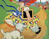 "Child's Room Art, Second Nursery Rhyme Art Series, Restored Antique Art Print ""Mary Had a Little Lamb""  #262"