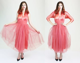 1950s Pink Pinup Tulle Satin Marilyn Halter Dress w/ Shrug