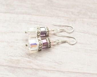 Swarovski Cube Crystal & Rhinestone Earrings. Clear Crystal AB and Amethyst Dangle Earrings. Wedding Jewelry. Bridesmaid Jewelry. Handmade