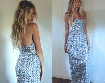 VINTAGE 1970's Silver Sequin Evening Gown