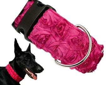 """Designer Rosette 2"""" Flower Dog Collar"""