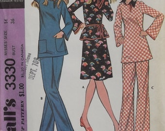 Vintage 1972 McCalls Pattern For Dress, Tunic, And Pants Size 14