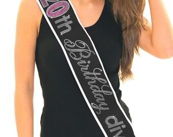 20th Birthday Sash -  Pink & Gem Border Rhinestone Sash, 20th Birthday Gift, 20th Birthday, Birthday Girl, Birthday Princess Sash, Birthday