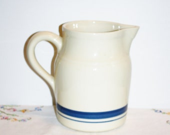 Friendship Stoneware Pottery Pitcher 10 Cups Blue Stripes Roseville Ohio USA Rustic Cabin Kitchen Decor