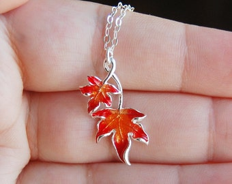 Red Orange Leaf Necklace , Autumn Necklace , Sterling Silver Leaf Pendant , Fall Jewelry
