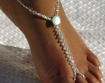 Barefoot Sandals Foot Jewelry Anklet Barefoot sandles Mint Green Foot jewelry Ice GreenAnklet