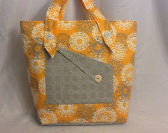Orange and Gray Padded Tote