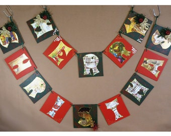 Christmas Decoration, Merry Christmas Wall Plaque, Holiday Christmas Bunting, Garland Wall Decor, Christmas Gift OOAK
