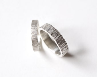 Tree bark Wedding Ring Set - Hammered Silver Wedding Band - Rustic Wedding Band Set - Textured Couples Rings - Personalized Wedding Rings