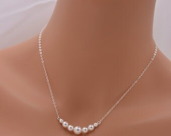 Set of 6 Pearl Necklaces, 6 Bridesmaid Pearl Necklaces, 925 Sterling Silver Necklaces, Pearl Bar Necklace, Floating Pearls 0305