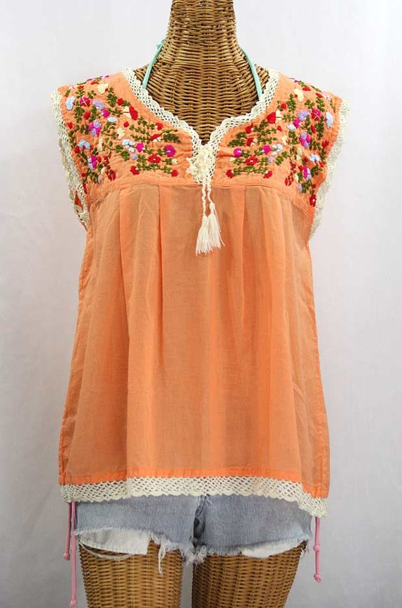 mexican peasant top blouse sleeveless hand by sirenology