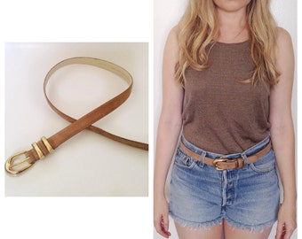 Vintage tan suede leather belt thin belt with gold buckle