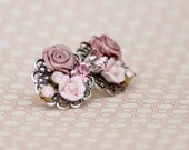 Dusty Pink Collage Earrings, Pink Collage Earrings, Bridesmaids Earrings, Swarovski Collage Earring