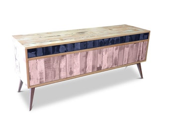 Retro Modern Mid Century Industrial Recycled Shabby Chic Country Farmhouse Sideboard / Buffet / Entertainment Unit - Navy & Blush Pink