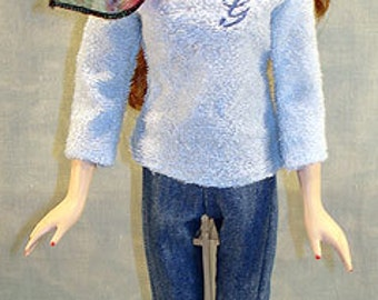 15-16 Inch Fashion Doll Clothes - Blue G Sweater and Jeans Outfit made by Jane Ellen to fit 15-16 inch fashion dolls