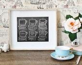Coffee Shop Art- Guide To Coffee Drinks - Coffee Art Print - Chalkboard Art - Kitchen Art -Coffee Lover Gift - Chalk Art
