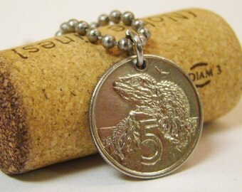 1981 New Zealand Coin Necklace with Lizard - Stainless Steel Ball - Five Cent Piece