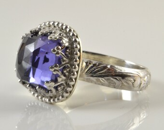 Alexandrite Ring in Sterling Silver, Faceted Cushion Rose Cut Alexandrite Stone in Crown Setting Ring
