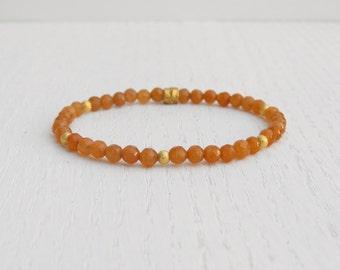Orange aventurine bracelet, Stretch beaded bracelet