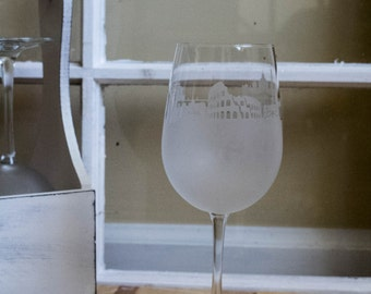 Etched Rome, Italy Skyline Silhouette Wine Glasses or Stemless Wine Glasses