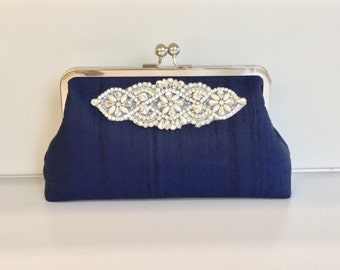 Navy Wedding clutch, Navy Blue Bridal Clutch, Bridesmaid Clutch, Mother of the Bride, Evening Clutch, Party Clutch, Wedding Applique