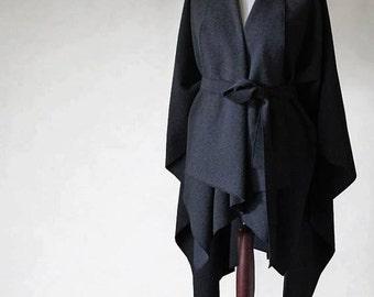 Wool poncho, graphite poncho, graphite coat, woman coat, wool coat, woman poncho, woman cape, woman jacket, wool sweater, wool jacket