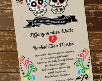 Sugar Skull Wedding Invitation, As Two Souls Become One, Day Of The Dead,