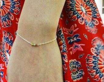 Tri-Tone Beaded Bracelet - gold or silver