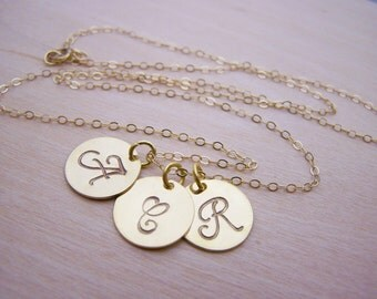 Three Initial Necklace - Gold Initial Necklace - Personalized Necklace - Initial Disc Necklace - Gold Filled Necklace - Gift for Her