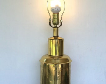 vintage brass canister table lamp embossed decoration chinoiserie Hollywood Regency
