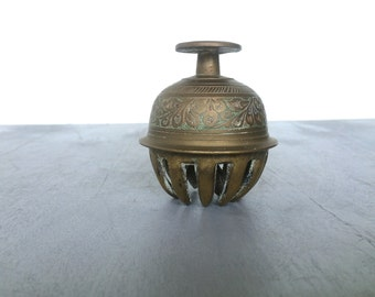 vintage etched brass elephant claw bell cage boho decor