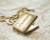 Vintage Letter V Locket Necklace, gold filled initial V locket, antique letter V locket, gold filled rectangle locket, monogrammed locket