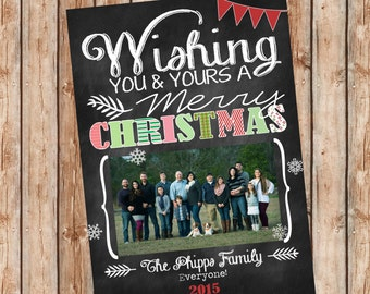 Photo Christmas Card | Chevron Chalkboard | Photo Holiday Card | Digital Christmas Card {P2}