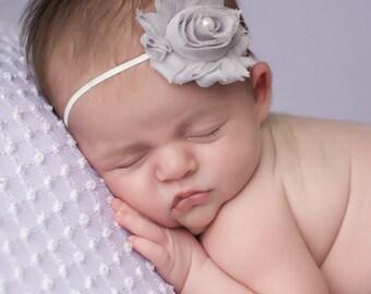 FREE SHIPPING! Grey Newborn Headband, Grey Headbands, Baby Headbands, Baby Girl Headbands, Shabby Chic Headband